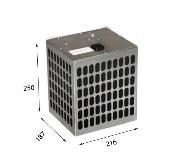 1019 250 – Plasmafilter mit Drucksensor für Wand- oder Inselhauben Luftaustritt dreiseitig Anschluss Ø 150 mm